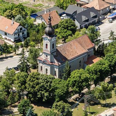 Letecký pohľad na kostoly vo farnosti